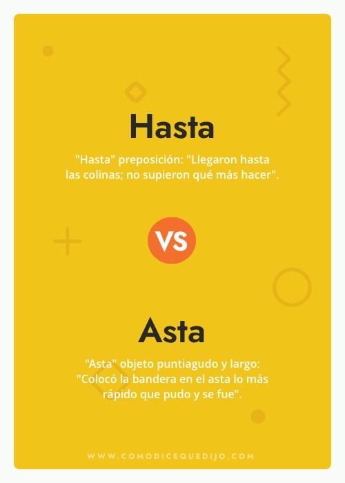 Hasta o Asta - ¿Cómo se escribe?