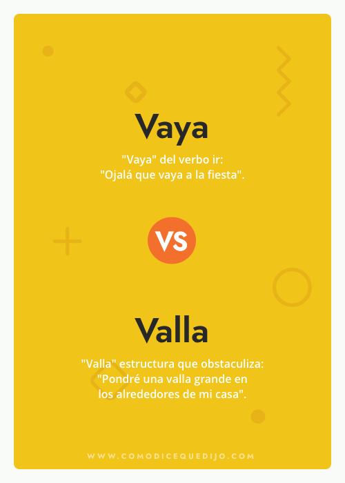Vaya o Valla - ¿Cómo se escribe?