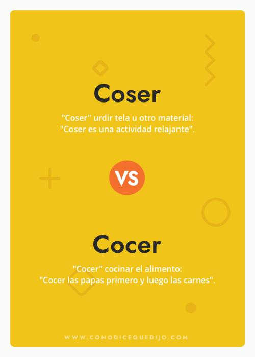 Coser o Cocer - Cómo se escribe