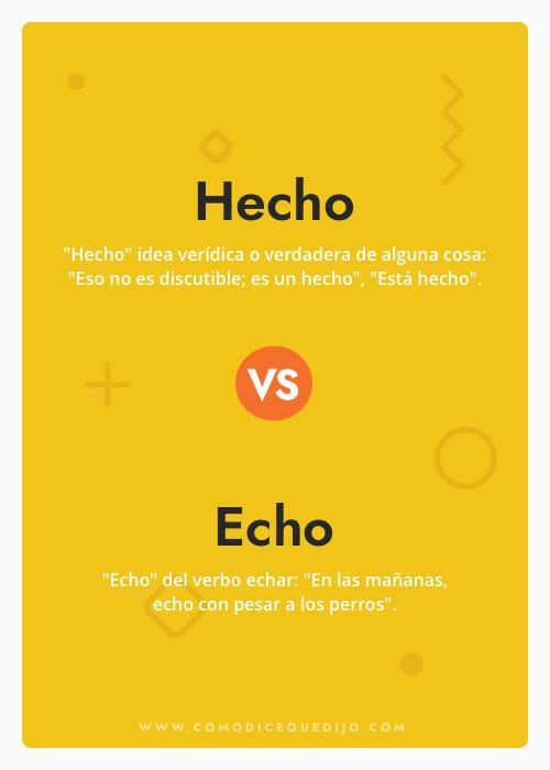 Hecho o Echo - Cómo se escribe