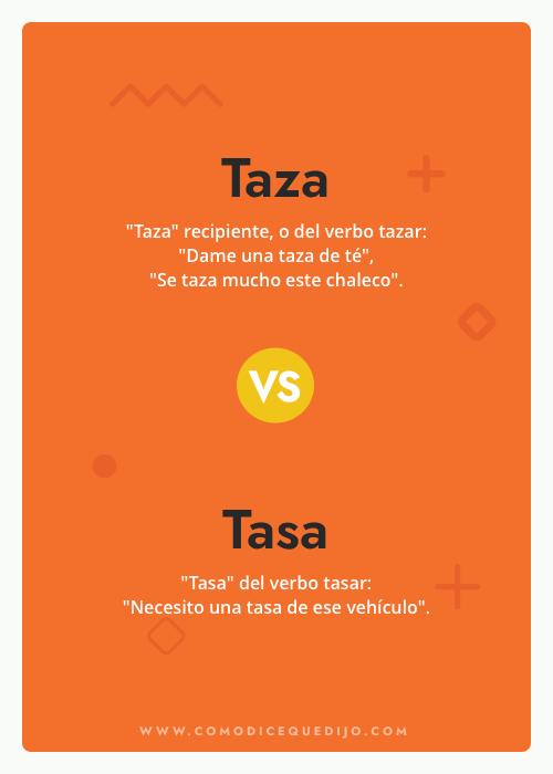 Taza o Tasa - Cómo se escribe