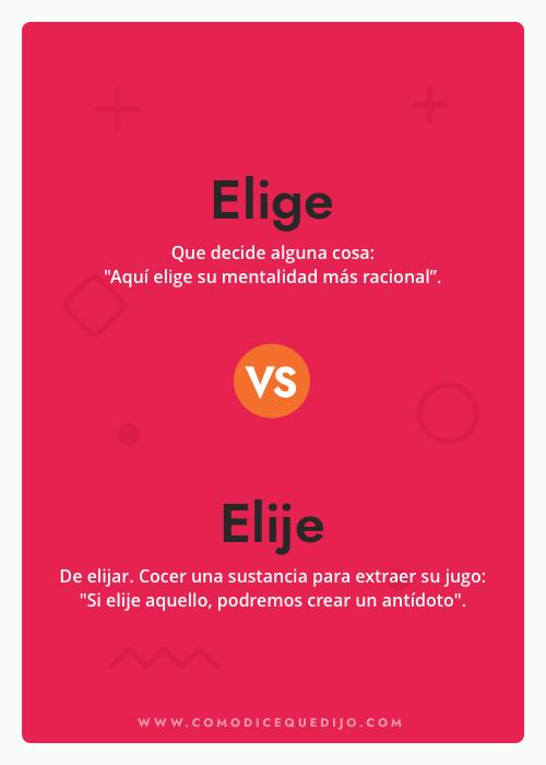 Elige o Elije - ¿Cómo se escribe?